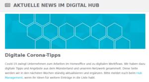 Newsletter Digital Hub vom 22.03.2020
